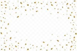 de nombreux confettis dorés de luxe tombant. fête d'anniversaire. illustration vectorielle