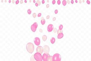 anniversaire de la fille. fond de joyeux anniversaire avec des ballons roses et des confettis. fête de l'événement de célébration. multicolore. vecteur