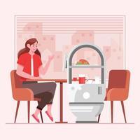 femme en train de dîner servi par robot vecteur