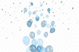 l'anniversaire du garçon. composition de fond isolé de ballons bleus réalistes de vecteur. ballons isolés. pour les cartes de voeux d'anniversaire ou d'autres modèles
