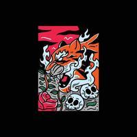 illustration de tigre style japonais pour tshirt vecteur