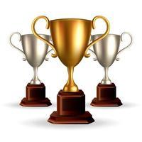 Coupe du trophée d'or et d'argent. illustration vectorielle 3d réaliste vecteur