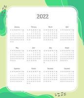 calendrier pour 2022 vecteur