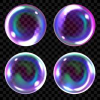 bulles de savon, sphères d'air transparentes réalistes de couleurs arc-en-ciel avec des reflets et des reflets vecteur