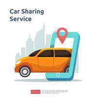concept d'illustration de partage de voiture. taxi en ligne ou location de transport à l'aide d'une application de service pour smartphone avec emplacement de caractères et de points d'itinéraire sur la carte gps pour la page de destination, la bannière, le web, l'interface utilisateur, le dépliant vecteur