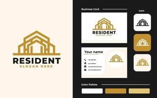 modèle de conception de logo et de carte de visite immobilier - bon à utiliser pour la construction et la construction d'architecture vecteur