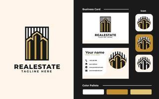 modèle de conception de logo et de carte de visite immobilier - bon à utiliser pour la construction et la construction d'architecture