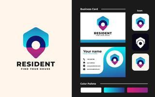 modèle de conception de logo et de carte de visite de point de maison