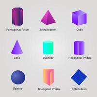 formes 3d colorées avec des noms vecteur
