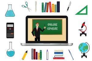 éducation scolaire en ligne avec ordinateur portable et éléments scolaires vecteur