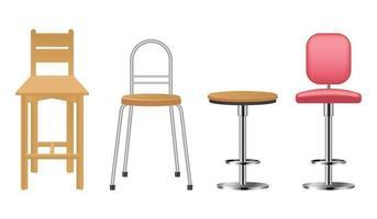 chaise de bar réaliste en bois et métal vecteur