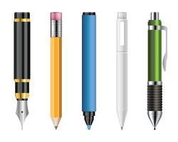 ensemble de stylos et crayons réalistes vector illustration isolé sur blanc