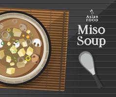 soupe miso japonaise dans un bol, vecteur d'illustration de cuisine japonaise.
