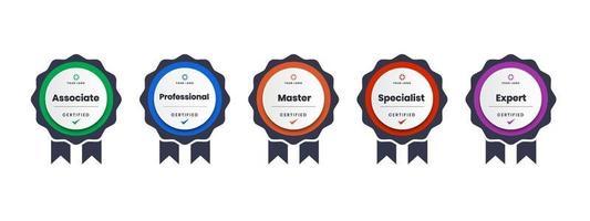 logo de certification numérique pour la formation, la compétition, les récompenses, les normes et les critères, etc. icône de badge certifié avec illustration vectorielle de ruban. vecteur
