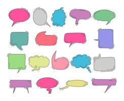 chat bulle doodle main colorée dessiner ensemble d'éléments. ensemble de vecteurs de bulles. Doodle dessiner à la main comme le style des enfants en couleur pastel pour une utilisation dans les affaires, chat, dans la boîte, dialogue, message, question, communication, parler, parler, autocollant, ballon, réflexion vecteur