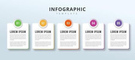 infographie vectorielle avec des nombres d'icônes. 5 options ou étapes. infographie pour le modèle d'étiquette d'entreprise. convient aux graphiques d'informations, aux organigrammes, aux présentations, aux sites Web, aux bannières, aux documents imprimés. vecteur