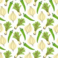 motif végétal avec oignons de composition, ail, élément de piments. parfait pour le fond de la nourriture, le papier peint, le textile. illustration vectorielle vecteur