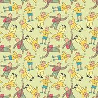 modèle sans couture enfants avec élément de doodle adolescent. groupe d'adolescents vêtus de vêtements à la mode révèle diverses émotions. expression de l'humeur. look de mode moderne. modèle sans couture de vecteur dessiné à la main. design plat. style de bande dessinée. tous les éléments sont isolés
