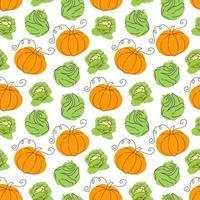 motif végétal avec chou de composition, élément de citrouille. parfait pour le fond de la nourriture, le papier peint, le textile. illustration vectorielle vecteur