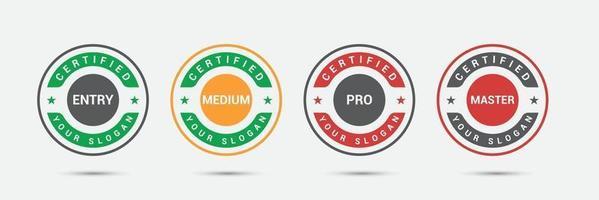 insigne de logo certifié entreprise professionnelle. modèle d'icône d'étiquette de candidats d'examen de certification. illustration vectorielle. vecteur