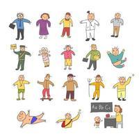 ensemble de griffonnages de dessin animé de personne vecteur