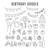 ensemble de décorations élément doodle pour anniversaire. ensemble de vecteurs d'éléments pour les griffonnages d'anniversaire et de fête. ensemble de collection de fête d'anniversaire utilisant l'art de doodle ou le style de dessin à la main