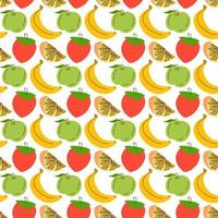 modèle sans couture avec fond de fruits. modèle sans couture avec fond de fraise, pomme, orange, banane. illustration vectorielle pour papier peint, textiles, tissu, papier.