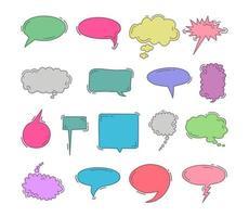 chat bulle doodle main colorée dessiner ensemble d'éléments. ensemble de vecteurs de bulles. Doodle dessiner à la main comme des enfants dans une couleur pastel pour une utilisation dans les affaires, chat, boîte de réception, dialogue, message, question, communication, parler, parler, autocollant, ballon, réflexion vecteur