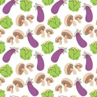 légumes de modèle sans couture avec des éléments de champignons, chou, aubergine. illustration vectorielle vecteur
