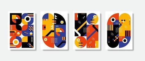 illustration postmoderne inspirée de l'affiche de symboles abstraits de vecteur avec des formes géométriques audacieuses, utile pour le fond Web, la conception d'art d'affiche, la première page de magazine, l'impression de haute technologie, le papier peint, les illustrations de couverture.