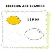Élément de livre de coloriage et de dessin citron vecteur