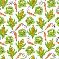 légumes de modèle sans couture avec des éléments de maïs, carottes, chou. illustration vectorielle vecteur
