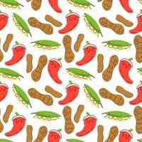 légumes de modèle sans couture avec des éléments de piment, feuilles de laurier, illustration vectorielle de cacahuètes vecteur