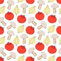 légumes de modèle sans couture avec des éléments de champignons, tomates, ail. illustration vectorielle vecteur