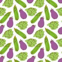 légumes de modèle sans couture avec des éléments d'aubergine, maïs, illustration vectorielle de chou vecteur