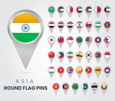 épingles du drapeau rond asie, pointeurs de carte vecteur