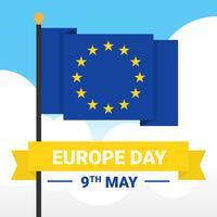 Modèle de vecteur de drapeau de la bonne journée de l'Europe