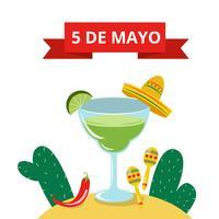 Boisson Margarita mignon avec chapeau mexicain, cactus, maracas et jalapeno rouge vecteur