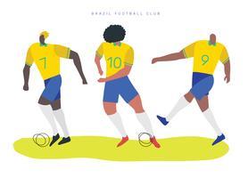 Personnages de football brésiliens Vector Illustration plate