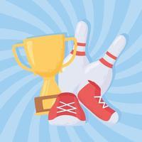 bowling avec chaussures, trophées et épingles vecteur