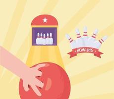 bowling avec boule et épingles vecteur