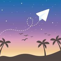 dessin animé ciel coucher de soleil avec avion en papier vecteur