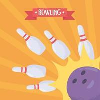 boule de bowling s'écraser des épingles blanches vecteur