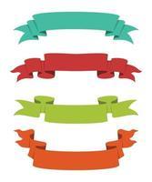 ensemble de quatre styles de rubans de couleur