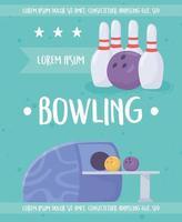 modèle d'affiche de bowling vecteur