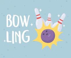 conception mignonne de bowling avec boule et épingles vecteur