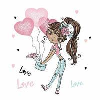 mignonne fashionista ballons adolescente à la peau foncée avec des coeurs. carte de la Saint-Valentin. vecteur. vecteur