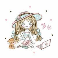 mignonne adolescente fashionista dans un chapeau avec un ordinateur portable et un chaton. vecteur.