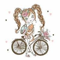 jolie adolescente fashionista avec chat, vélo. ma vie. vecteur. vecteur