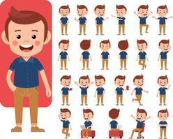 jeu de conception de personnage de travail homme d'affaires. conception d & # 39; illustration vectorielle entreprise vecteur